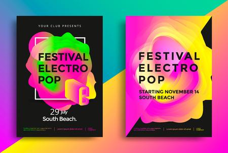 축제 전기 팝 포스터입니다. 다채로운 활기찬 그라데이션 배경입니다.
