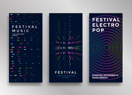 Electronic music festival minimal poster design. Modern colorful dotted lines background for flyer, cover. Vector illustration Çizim