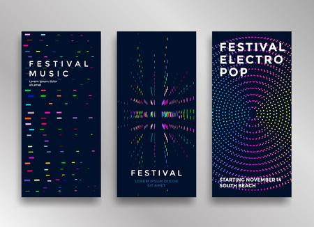 Electronic music festival minimal poster design. Modern colorful dotted lines background for flyer, cover. Vector illustration Illustration
