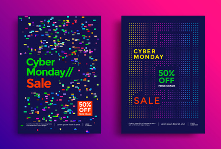 Cyber monday sale poster design. Vector template