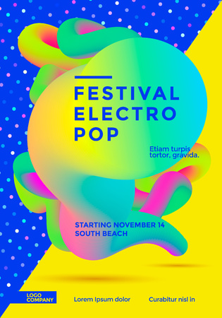 Festival electro pop isolated on colorful background