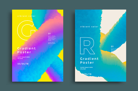 Creative design poster with vibrant gradients shape. Colorful brigth backgrounds for flyer, cover, brochure. Vector template Illusztráció