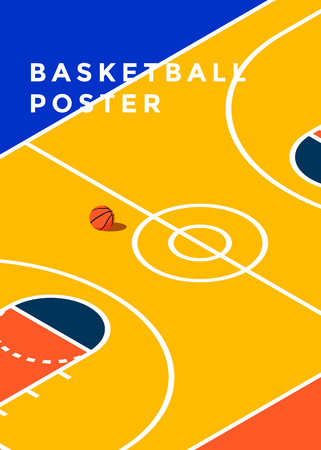 Basketball tournament poster template vector illustration