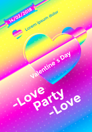 Valentines day poster with vibrant gradient heart. Colorful love party flyer. Vector illustration