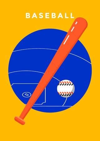 Baseball game sport poster design. Vector flat illustration. Illustration