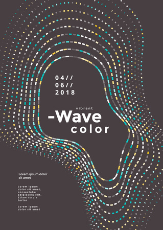 Modern colorful mosaic wave poster. Cover design vector template. Abstract colored waves background. Stock fotó - 109926275