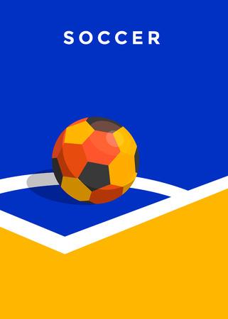 Fußballmeisterschaftsplakatdesign. Flache Artillustration Standard-Bild