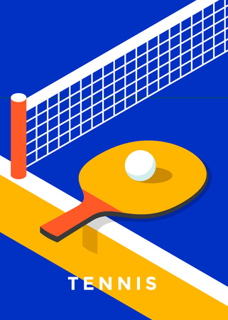 Poster design di ping-pong. Telo da ping pong. Vector piatta illustrazione Archivio Fotografico