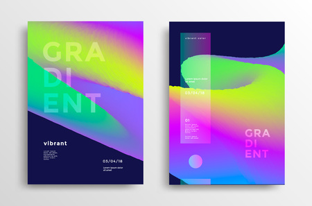 Trendy covers set with gradient shapes. Modern brigth backgrounds for flyer, poster, brochure. Vector template