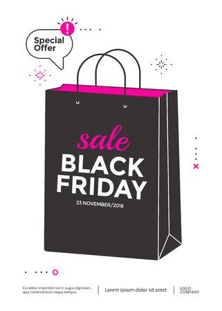 Black Friday sale poster design flat illustration