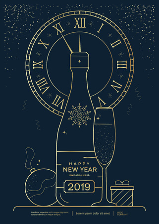 New Year greeting card design with stylized bottle of champagne, wineglass and clock. Christmas golden line illustration. Vector template Stock fotó - 127441958