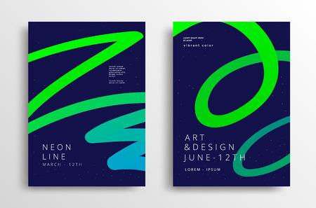 Modern Art graphics with gradient neon line. Minimal cover design. Vector template Stock fotó - 127441959