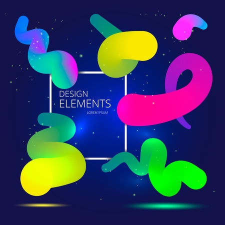 Vibrant Gradient design elements for your project. Colorful Neon abstract shapes. Vector illustration Ilustracja