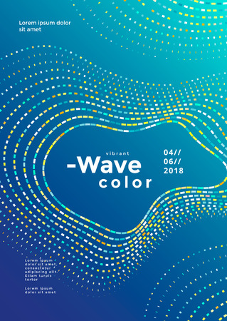 Modern colorful mosaic wave poster. Cover design vector template. Abstract colored waves background. Stock fotó - 127227696