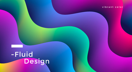 Fluid wide poster design with vibrant colorful wave shapes. Vector illustration Stock fotó - 127227697