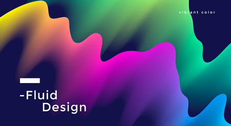 Fluid wide poster design with vibrant colorful wave shapes. Vector illustration