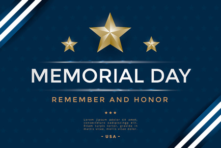 Memorial day cover template design with stars and ribbon. Vector illustration Иллюстрация