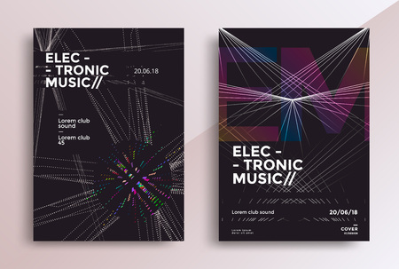 Electronic Music Fest posters design. Sound flyer with geometric line shapes. Vector template