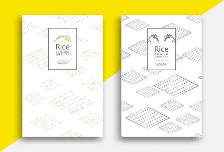 Conception de modèle d'emballage de riz avec motif de champ