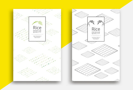 Rice packaging template design with field pattern
