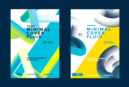 Minimal cover fluid with abstract 3d color shapes. Vector poster template. Modern flyer for presentation. Stock fotó - 125610195