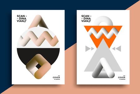 Posters design in the Scandinavian style with graphic geometric shapes. Vector illustration for flyers, placards, brochures, covers. Ilustracja