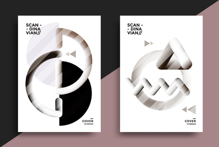 Posters design in the Scandinavian style with graphic geometric shapes. Vector illustration for flyers, placards, brochures, covers. Stock fotó - 125610197