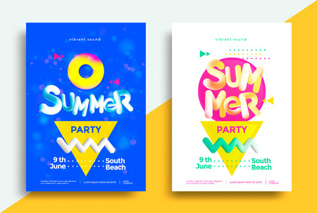 Summer party posters design with geometric shapes and blend lettering. Vector illustration for flyers, placards, brochures, covers.