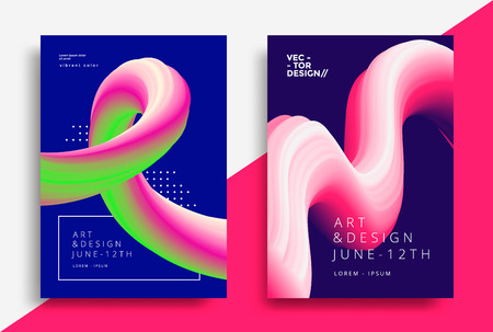 Creative design posters with flow art shapes. Liquid wave backgrounds for flyer, cover, brochure. Vector template Stock fotó - 125610199