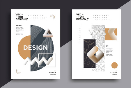 Creative design poster with graphic geometric art shapes. Minimal bright backgrounds for flyer, cover, brochure. Vector template