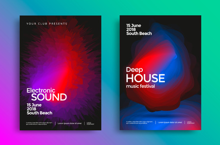 Electronic music festival poster with abstract gradient shapes. Vector template design for flyer, presentation, brochure. Stock fotó - 125610201