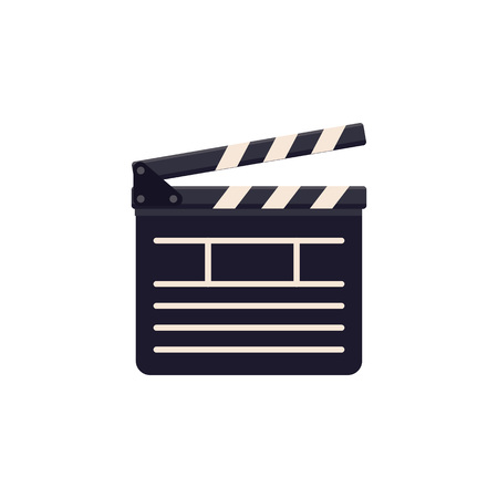 Clapperboard vector icon isolated on white background. Flat style illustration