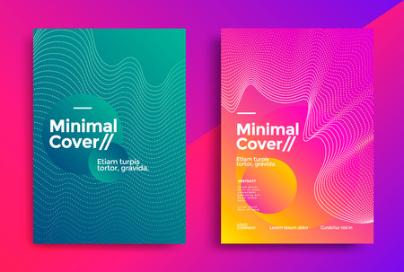 Minimal covers design with halftone gradient shapes. Poster template with geometric dot lines. Stock fotó - 125162372