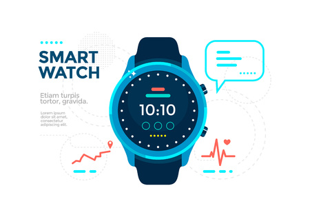 Blue Smart watch with app icons. Flat vector illustration electronic device.
