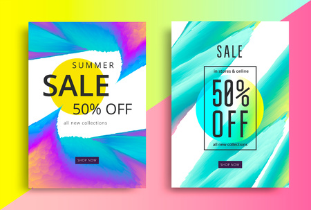 Summer Sale poster. Discount flyer with vibrant gradients shapes. Vector modern promotion banner. Stock fotó - 118853230