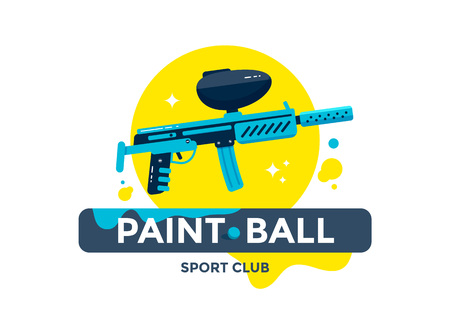 Paintball sport club emblem or logo design. Flat style illustration.
