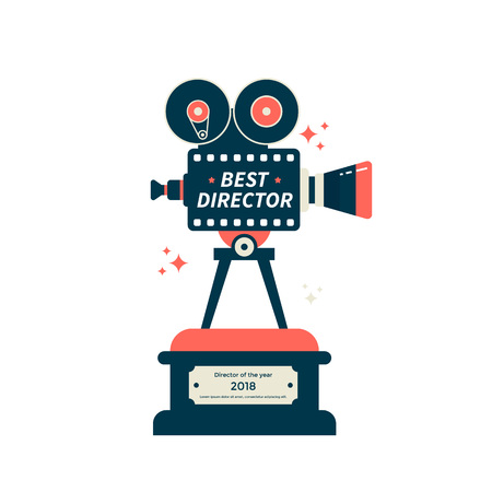 Best Director film award icon or symbol. Cinema camera trophy vector flat illustration.