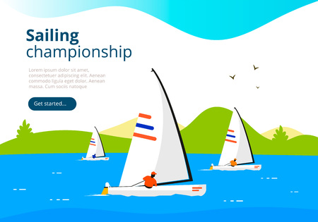 Sea sailing championship. Yacht club sport landing page template. Vector banner design with sailboats and landscape.