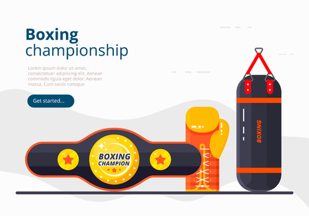 Boxing championship landing page template. Sport banner design with glove, punching bag and belt. Vector flat illustration Ilustracja