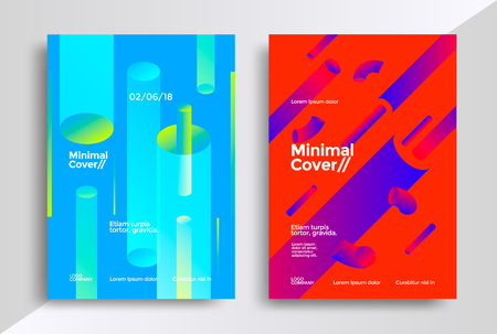 Minimal covers design with halftone gradient shapes. Futuristick poster template.