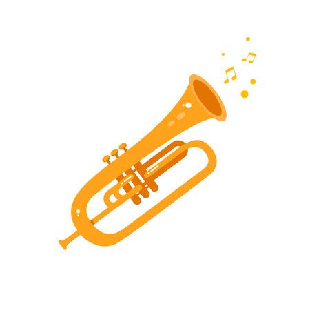 Trumpet icon flat illustration. Vector Music instrument Illustration