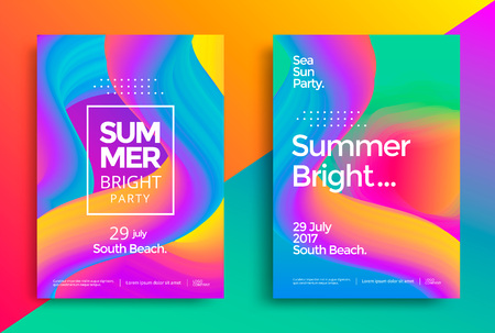 Summer bright party poster. Club night flyer. Abstract gradients waves music background. Çizim