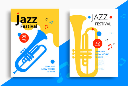 Jazz music festival poster design template with trumpet. Vector illustration flyer for jazz concert. Stock Illustratie