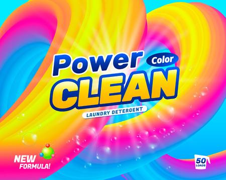 Verpackungsdesignvorlage für Waschmittel. Pulver zum Waschen von farbigem Leinen. Vektor-Illustration Vektorgrafik