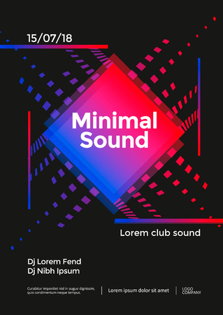 Minimal Music poster design. Sound flyer with abstract geometric shape. Vector template