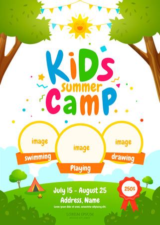 Cartel de campamento de verano para niños.