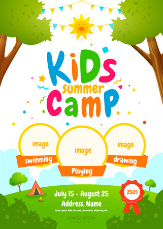 Kids summer camp poster Stock Illustratie