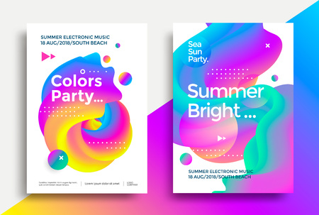 Summer bright and Colors party poster. Club night flyer. Abstract gradients waves music background.