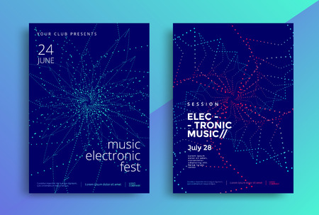 Electronic Music poster design or Sound flyer Çizim