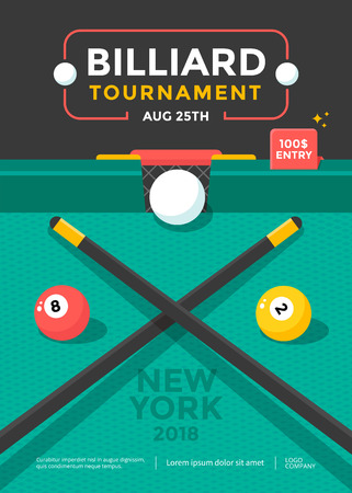 Billiard tournament sport poster design with ball Stock fotó - 125021759